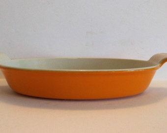 Vintage Cousances Cast Iron #24 Au Gratin Fire Orange Le Creuset Baking Dish Pan Made in France