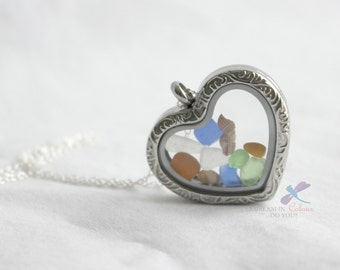 Sea Glass Locket Pendant Heart Shaped Vintage Style with Sterling Silver Chain