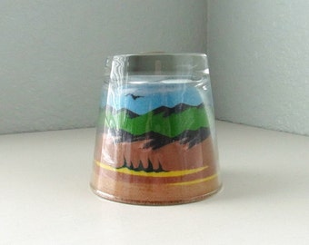 Glass Paperweight, Glass Paper Weight, Paperweight, Southwestern, Paper Weight, Sand Art, Sand Art Bottles, Office Decor, Desk Decor