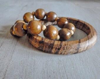 Wood Bracelet Set - Wood Bangle Bracelet Set - Stretch Wood Bead Bracelet