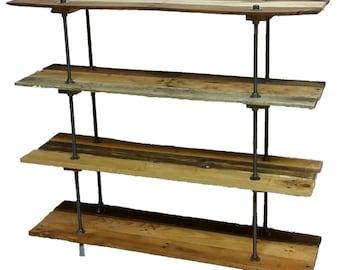 Vintage Reclaimed Wood Pallet 5 Shelf Bookcase or Bookshelf Industrial Style with Adjustable Legs