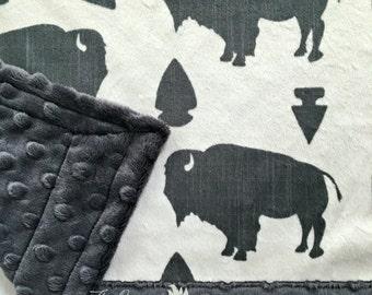 Buffalo Baby Blanket - Designer Buffalo/Arrow Head Minky - Charcoal