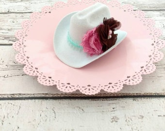 Cowgirl hat - mini cow girl hat - cowboy hat - cowgirl - cowgirl costume - white cowgirl hat
