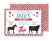 Farm Birthday Printed Invitation - 5x7 (Watercolor, Petting Zoo, Pig, Cow, Chicken, Boy)