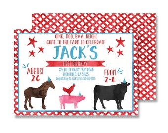 Farm Birthday Invitation - 5x7 (Watercolor, Petting Zoo, Pig, Cow, Chicken, Boy)