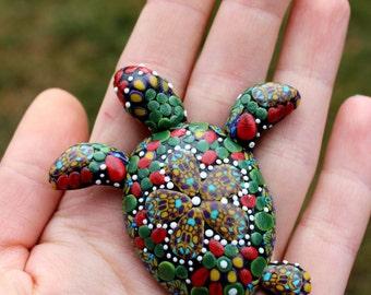 Turtle polymer clay brooch, technique mosaics brooch - summer brooch