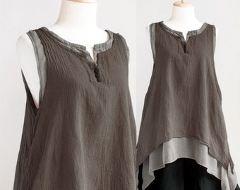 SALE, Women Sleeveless Cotton Summer Top, Doulble Layer Asymetrical Top in Dark Brown