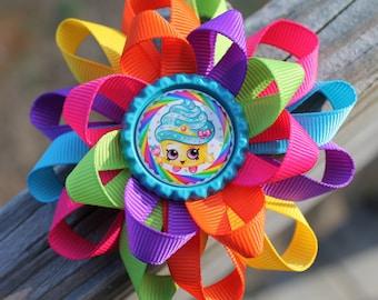 Shopkins, Shopkins hair bow, cupcake hair bow, shopkins bow, girls hair bow, hair bow, candyland hair bow, shopkins birthday party hair bow