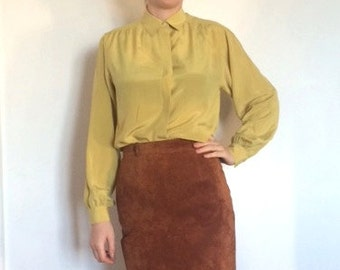 Lime Green Chartreuse Silk Shirt 1970s