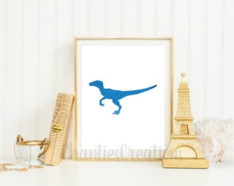 Velociraptor Dark Blue Watercolor Wall Art Printable. Printable Dinosaur Wall Art for Little Boys Room. Raptor Dinosaur Printable