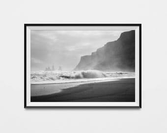 Coastal Decor, Ocean Wall Print, Beach Photography, Coastal Art, Black And White Photography, Ocean Poster, Beach House, Black & White Photo
