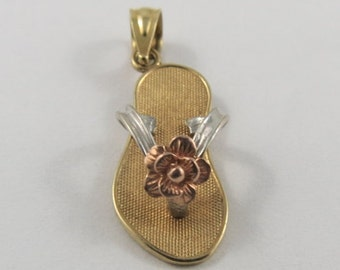Flip Flop With Flower 10K Gold Vintage Charm For Bracelet