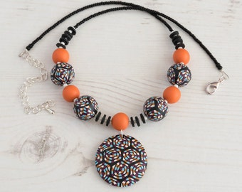 Black statement necklace, Orange and black necklace, Statement necklaces UK,  Bright orange necklace, Gift for her, Chunky necklaces UK