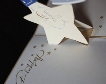 Birthday star and cupcake pop-up card