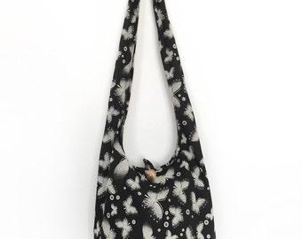 Butterfly Print Sling Shoulder Bag CrossBody Bag Messenger Bag Cotton Bag Hippie Boho Style Handmade Black