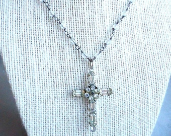 Rhinestone Stanhope Cross Pendant Necklace with the Lord's Prayer - Made in France