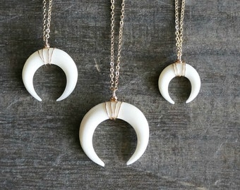 White Double Horn Necklace // Small - Medium - Large / Sterling Silver or 14k Gold Filled / Carved Ox Bone Pendant Necklace