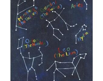 Constellations Print (1 of 2) Acrylic on Canvas, 5x7, 8x10, 11x14, 13x19, Stars, Constellations, Kids Art, Space, Children's Art, Kids Decor