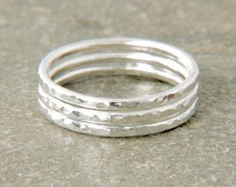 Stacking ring set, 3 stacking rings, set of stack rings - skinny stacking set, petite rings