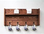 Coffee Mug Display Rack, Rustic Wood Spice Rack, Wooden Kitchen Organizer Decor, Coffee Cup Holder, Coffee Bar Shelf Decor, Tea Cup Display