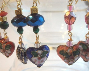 Heart Earrings, Valentine gift, cloisonne heart, a pair of earrings in red, pink or blue, also called clip earrings