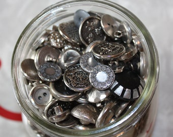 Vintage Buttons: Silver Tone Assortment in Glass Jar
