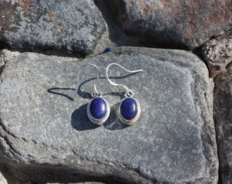Lapis Lazuli & Sterling Silver Oval Earrings - #35