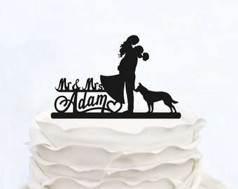Wedding Cake Topper With Surname_Mr & Mrs Topper With Dog_Groom And Bride Cake Topper_Script Cake Topper_Personalized graphic cake topper