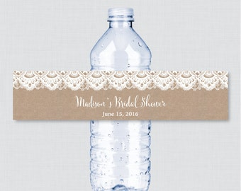 Burlap and Lace Bridal Shower Printable Water Bottle Labels - Rustic Burlap Bridal Shower Personalized Water Bottle Labels - Burlap  0003