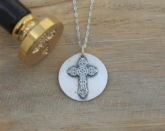 Cross wax seal fine silver pendant