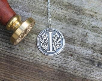 Monogram - Letter fine silver wax seal pendant