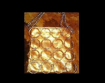Vintage 60s 60's sixties mod psych psychedelic gold metal hoop chain bag purse handbag