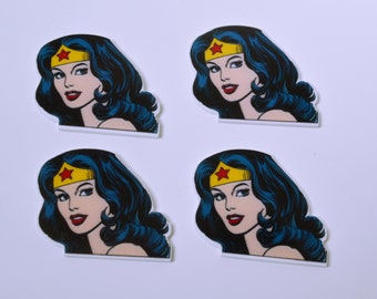 Wonder Woman Cup Cake Topper Planar Resin Cabochon Flat back Embellishments Brand Inspired Resin Flat backs  247459