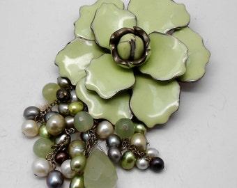 Unusual Large Vintage Green Enamel Flower Beads dangle Brooch