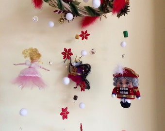Needle felted mobile, Waldorf inspired, Nutcracker, Christmas mobile, Home decor, Mobile