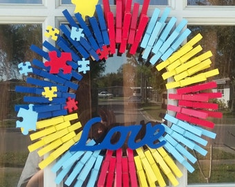 "Autism awareness ""Love"" wreath"