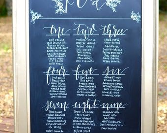 Custom Seating Chart in Calligraphy - RENTAL