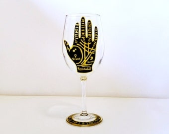 Palmistry Hand - Palmistry - Astrology Gifts - Gypsy Gifts - Astrology Art - Oddities - Obscure - Unique Gifts - Hand Painted Wine Glass