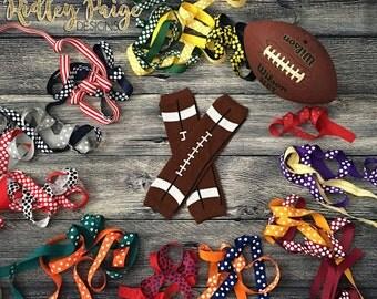 Girls Football Leg Warmers, YOUR TEAM Baby Girl Sports Socks, Football Newborn Toddler Baby Legs, Shower Gift, Leggings Bow Made To Order