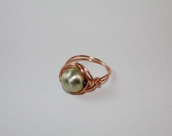 Handmade, Bronze Wire Wrapped Ring, with a Pearlized Light Green Bead, Jewelry, Assesories