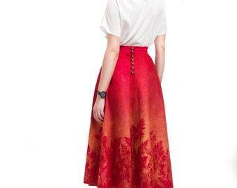 Red Skirt with herbal print, Long red coton skirt, Red maxi skirt