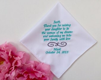 Father Of Bride Handkerchief Wedding Gift/Personalized Handkerchief Hankie Gift From Groom/With Free Wedding Gift Box