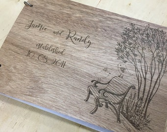 Wood Guest Book | Wedding Guest Book Alternative | Love Birds Guest Book | Unique Wedding Guest Book | Unique Guest Book - Engraved For You!
