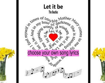 The Beatles Song Lyric heart Spiral art Beatles Music Art Art Print