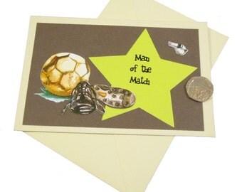 Football Birthday Card, Male Birthday Card, Man of the Match Card, Man's Birthday Card, Sports Birthday, Soccer Card, Footy Card