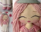 "Princess Doll~A ""My Felt Doll"" Princess~pure Wool Felt Doll~Natural Fiber Doll~Handmade Doll~Beautiful Pink Princess Doll~"