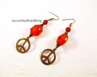 Peace Sign Earrings, Peace Earrings, Red Earrings, Long Red Earrings, Bronze Earrings, Bohemian Earrings, Peace Dangle Earrings,Red Jewelry