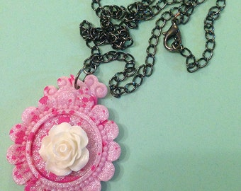 Kawaii Goth Pastel Goth Rose Cameo Necklace, Pink and White