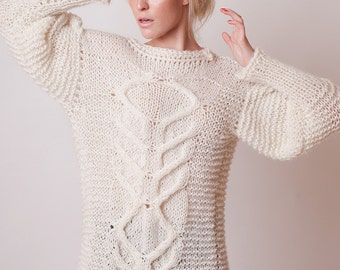 Oversized cable sweater, ivory alpaca pullover, puffy sleeves, merino sweater, off white clothing, chunky knit, itch free, lightweight pull