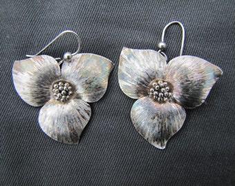 Sterling silver Trillium earrings